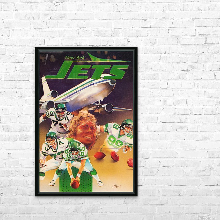 vintage new york jets poster art artist george zebot row one brand sports posters HD Sublimation Metal print with Decorating Float Frame (BOX)