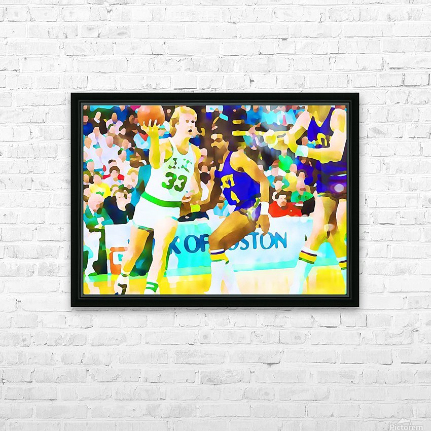 Larry Bird Digital Watercolor HD Sublimation Metal print with Decorating Float Frame (BOX)