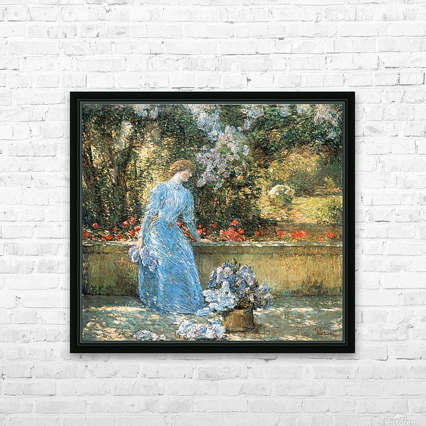 Woman in park by Hassam HD Sublimation Metal print with Decorating Float Frame (BOX)