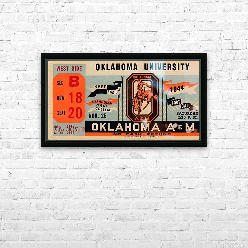 1944 oklahoma sooners osu cowboys ticket stub metal sign college football tickets wood prints art r1 HD Sublimation Metal print with Decorating Float Frame (BOX)