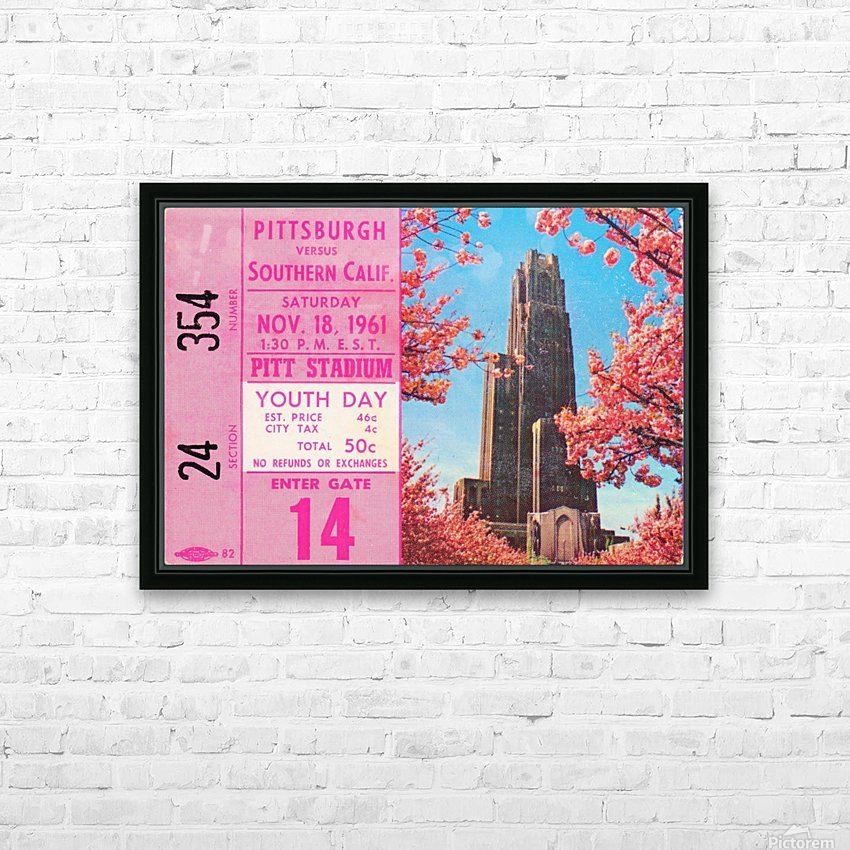 1961 usc pitt panthers football ticket stub poster print metal wood tickets HD Sublimation Metal print with Decorating Float Frame (BOX)