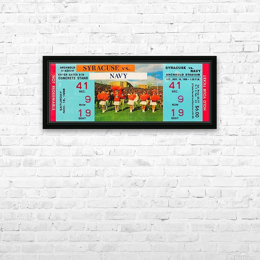 1968 syracuse navy college football ticket stub art poster vintage canvas metal tickets row 1 HD Sublimation Metal print with Decorating Float Frame (BOX)