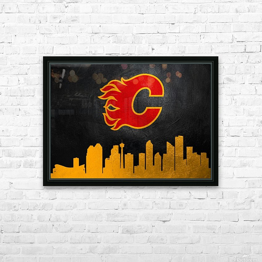 Calgary Flames HD Sublimation Metal print with Decorating Float Frame (BOX)