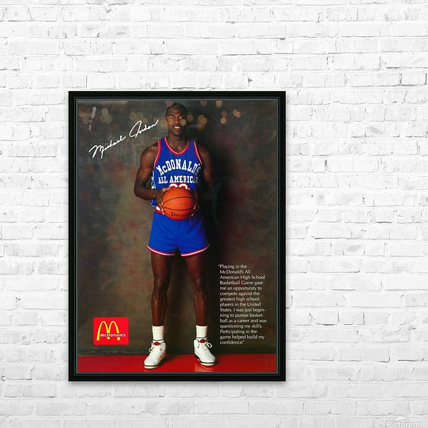 1987 McDonalds Michael Jordan Ad Poster HD Sublimation Metal print with Decorating Float Frame (BOX)