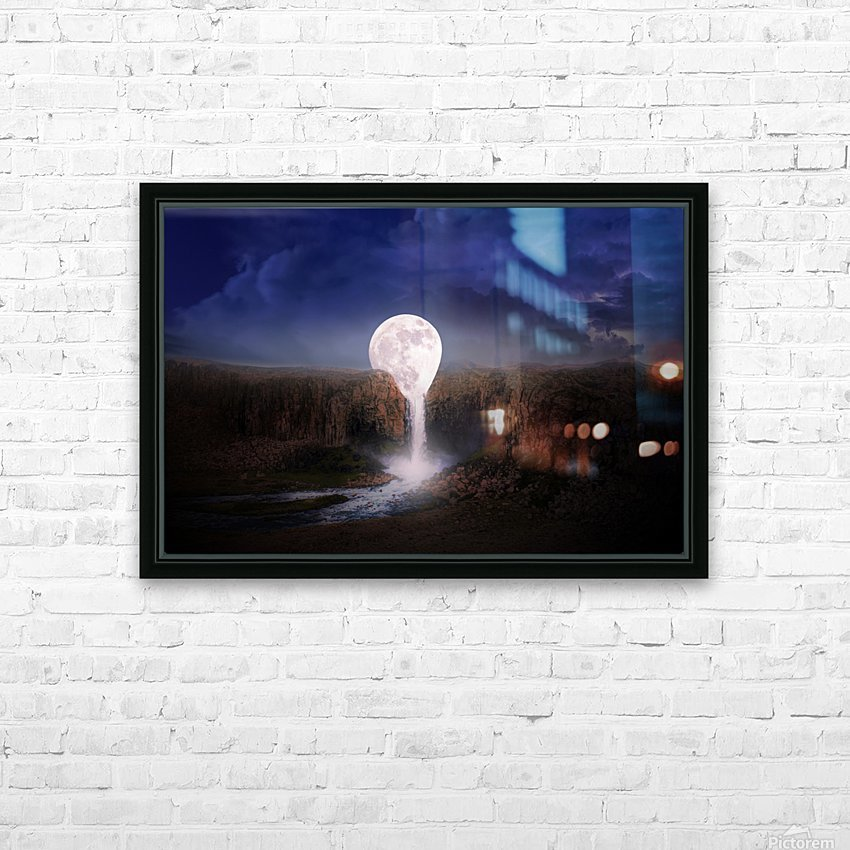 moon landscape night fantasy HD Sublimation Metal print with Decorating Float Frame (BOX)
