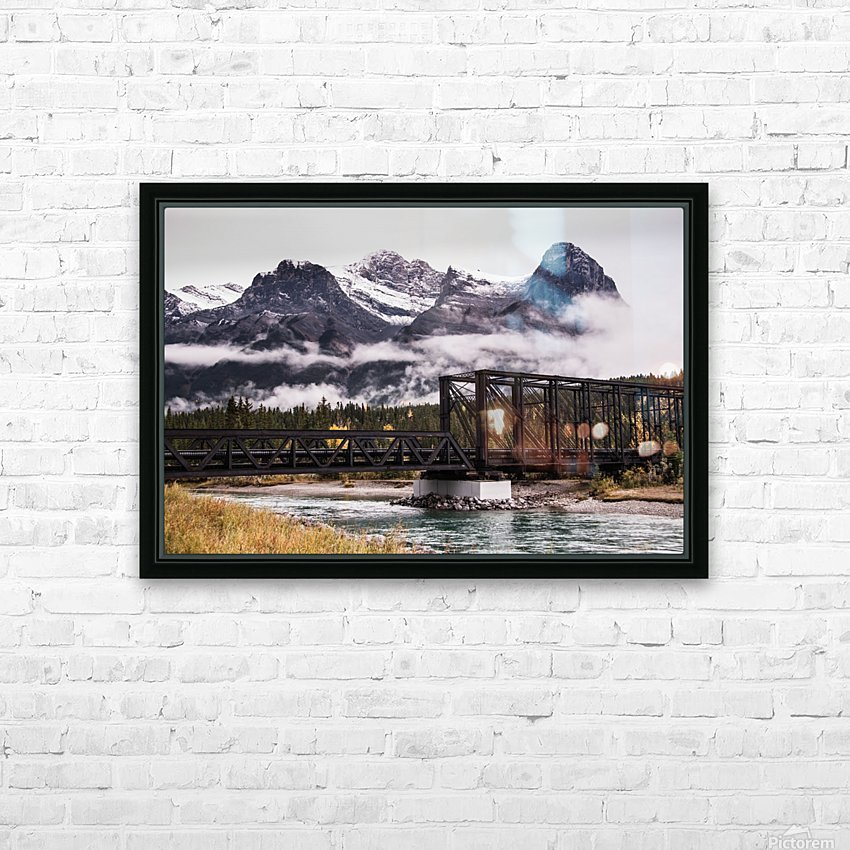 The Engine Bridge Canmore in Fall HD Sublimation Metal print with Decorating Float Frame (BOX)