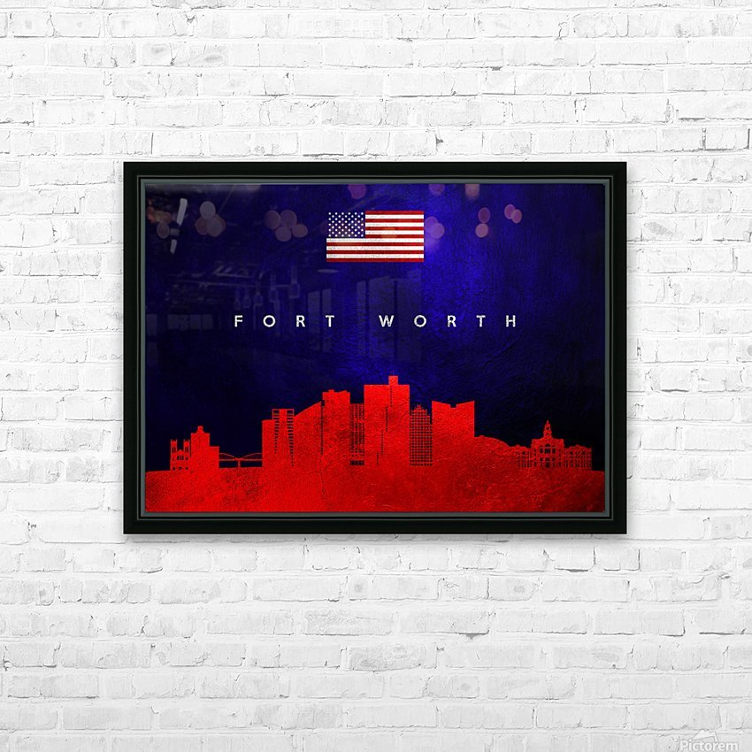 Fort Worth Texas Skyline Wall Art HD Sublimation Metal print with Decorating Float Frame (BOX)