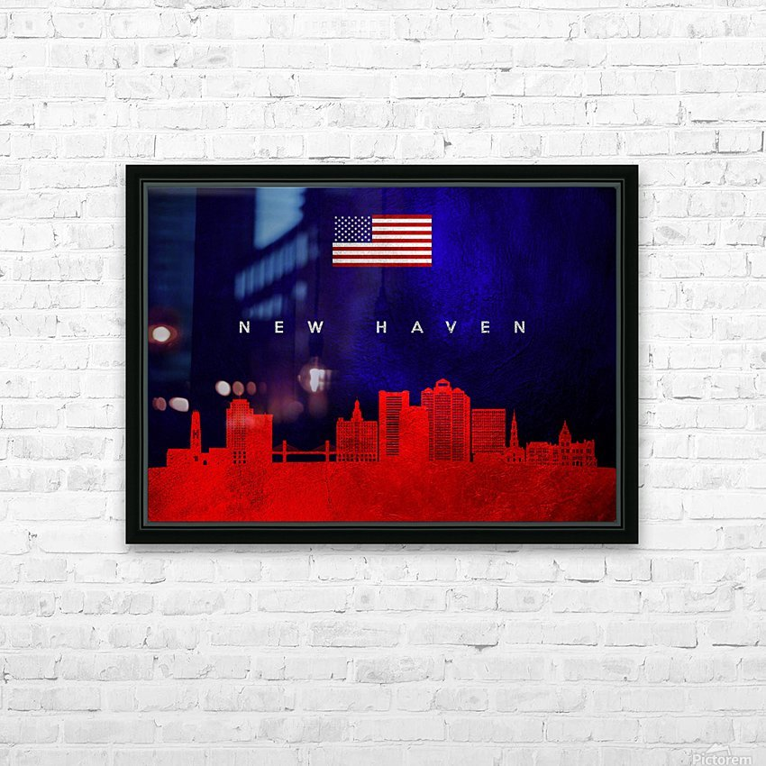 New Haven Connecticut Skyline Wall Art HD Sublimation Metal print with Decorating Float Frame (BOX)