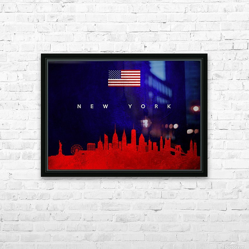 New York New York Skyline Wall Art HD Sublimation Metal print with Decorating Float Frame (BOX)