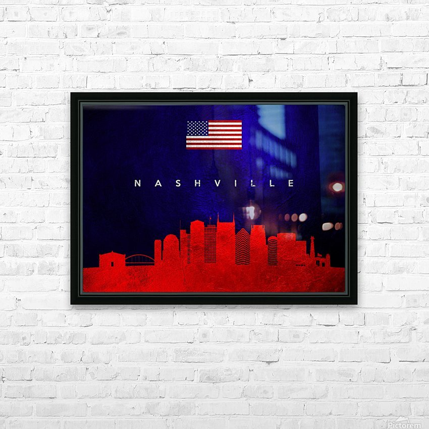 Nashville Tennessee Skyline Wall Art HD Sublimation Metal print with Decorating Float Frame (BOX)