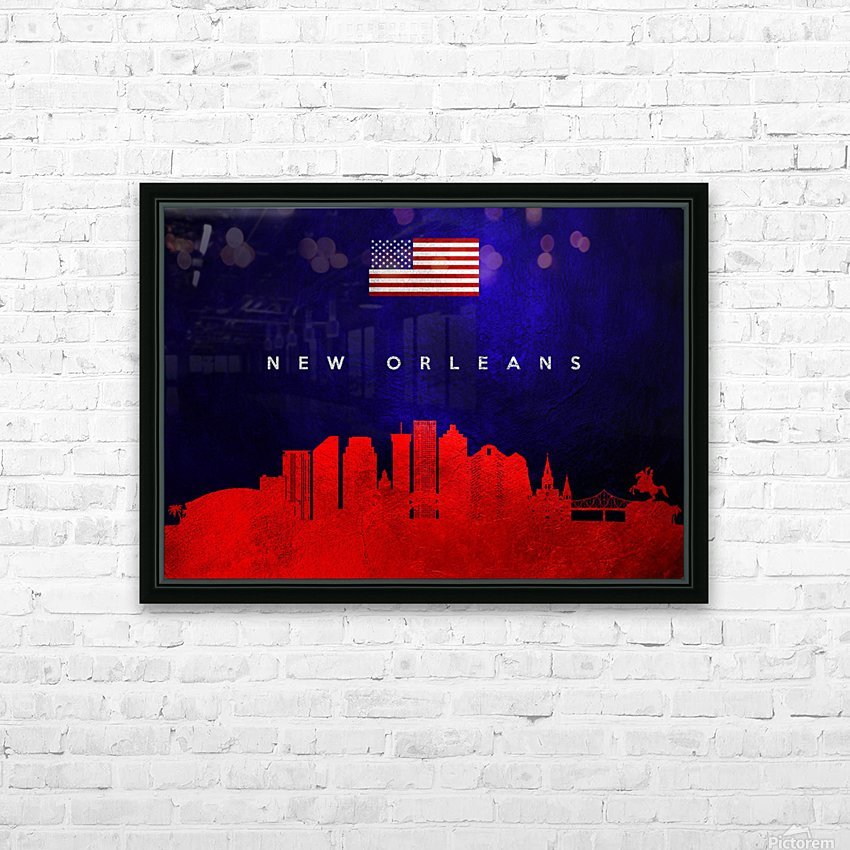 New Orleans Louisiana Skyline Wall Art HD Sublimation Metal print with Decorating Float Frame (BOX)