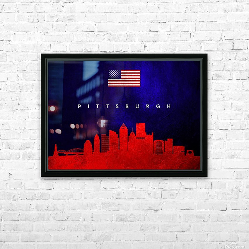 Pittsburgh Pennsylvania Skyline Wall Art HD Sublimation Metal print with Decorating Float Frame (BOX)