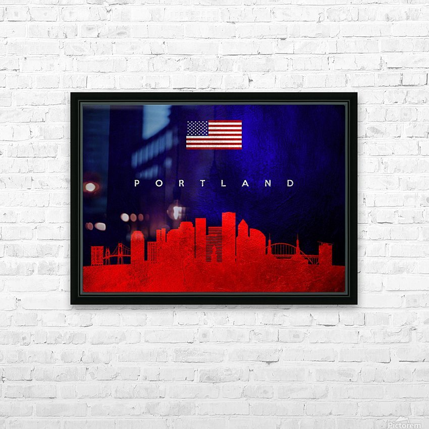 Portland Oregon Skyline Wall Art HD Sublimation Metal print with Decorating Float Frame (BOX)