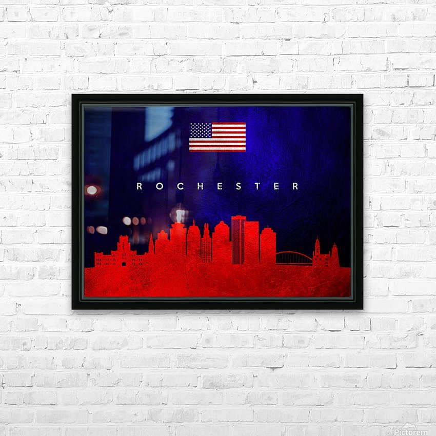Rochester New York Skyline Wall Art HD Sublimation Metal print with Decorating Float Frame (BOX)