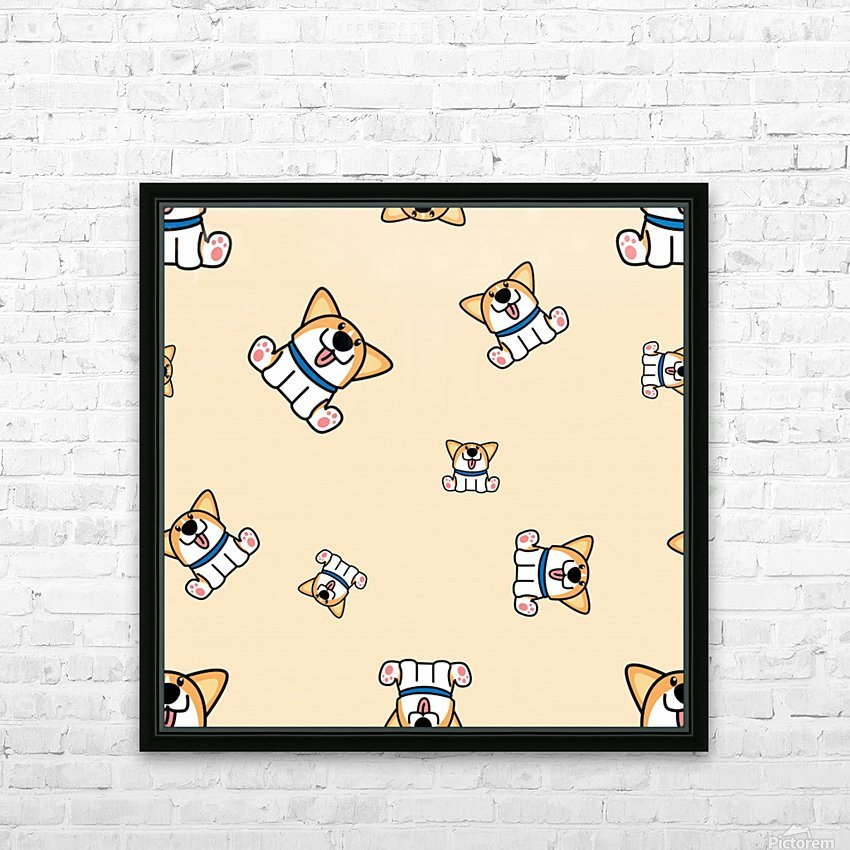 cute welsh corgi puppy sitting seamless pattern HD Sublimation Metal print with Decorating Float Frame (BOX)
