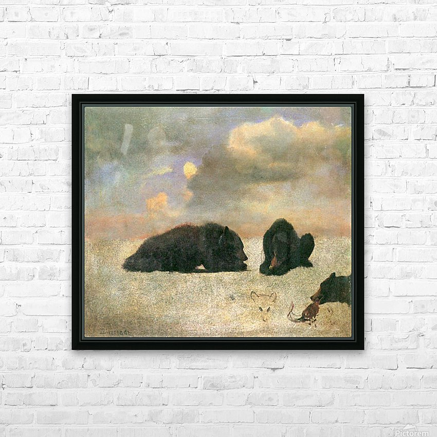 Grizzly Bears by Bierstadt HD Sublimation Metal print with Decorating Float Frame (BOX)