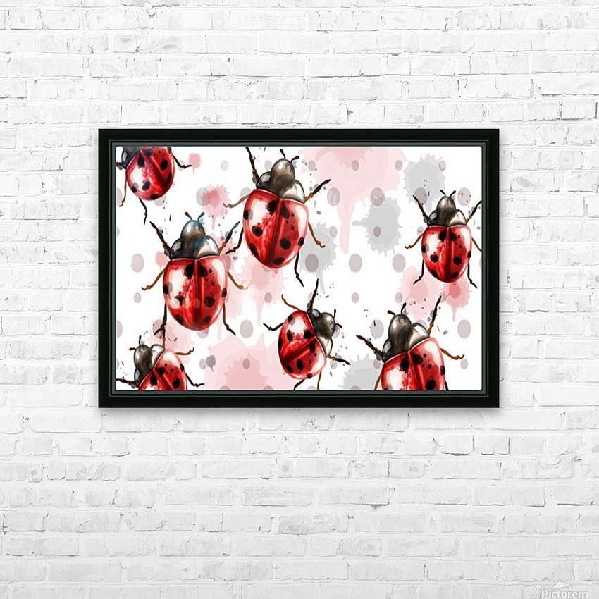 ladybugs pattern texture watercolor_ HD Sublimation Metal print with Decorating Float Frame (BOX)