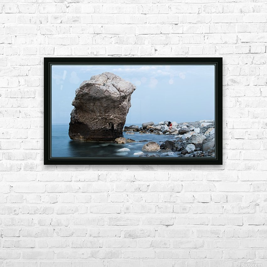 BLUE SEA WITH RED GIRL HD Sublimation Metal print with Decorating Float Frame (BOX)