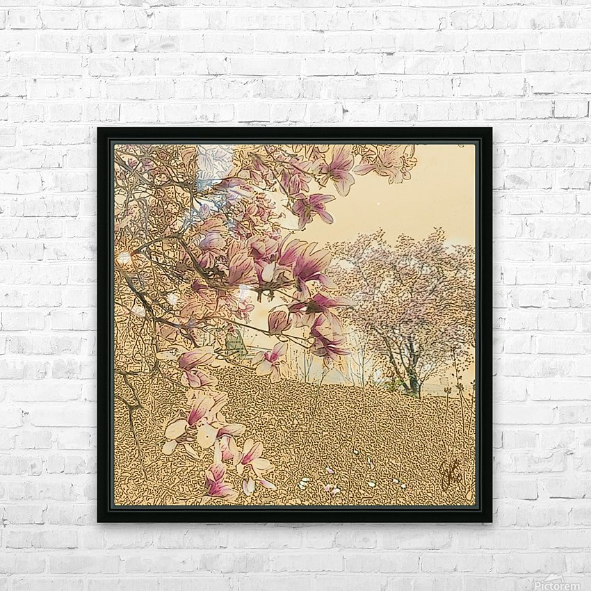 PInk Magnolia Tree HD Sublimation Metal print with Decorating Float Frame (BOX)