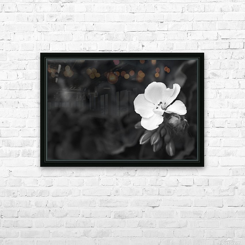 Blooming side flower B&W HD Sublimation Metal print with Decorating Float Frame (BOX)
