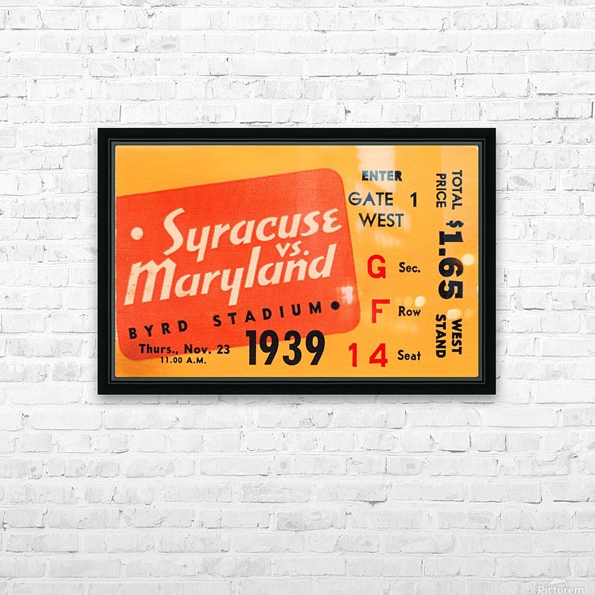1939 Syracuse vs. Maryland HD Sublimation Metal print with Decorating Float Frame (BOX)
