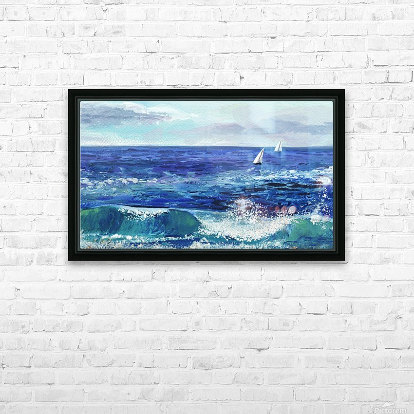Two Boats In The Ocean Seascape Painting HD Sublimation Metal print with Decorating Float Frame (BOX)