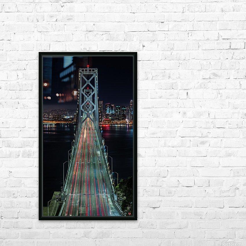 Oakland - San Francisco Bay Bridge at Night HD Sublimation Metal print with Decorating Float Frame (BOX)