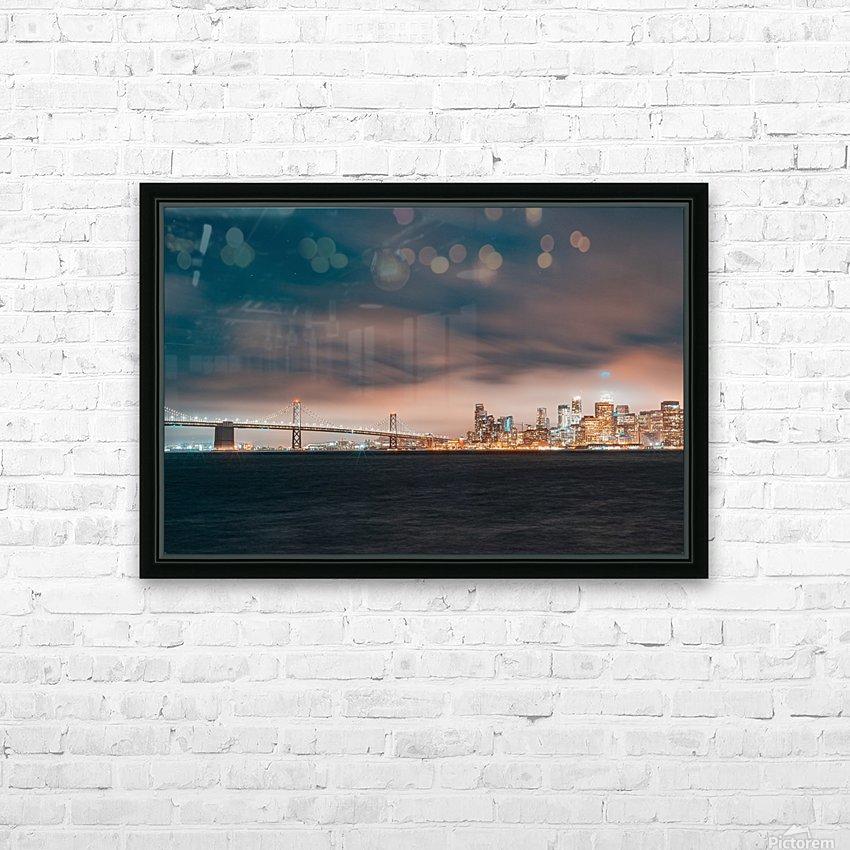 Cloudy San Francisco Night Skyline HD sublimation métal imprimé avec décoration flotteur cadre (boîte)