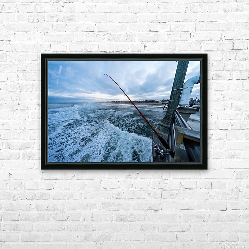 Fishing in Huntington Beach HD Sublimation Metal print with Decorating Float Frame (BOX)