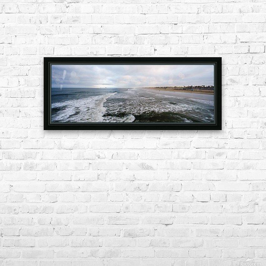 Huntington Beach Panorama HD sublimation métal imprimé avec décoration flotteur cadre (boîte)