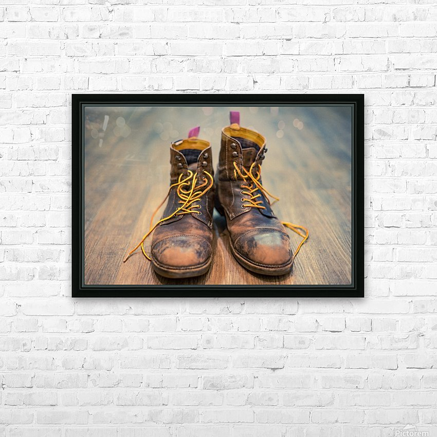 Worn Out Boots HD Sublimation Metal print with Decorating Float Frame (BOX)