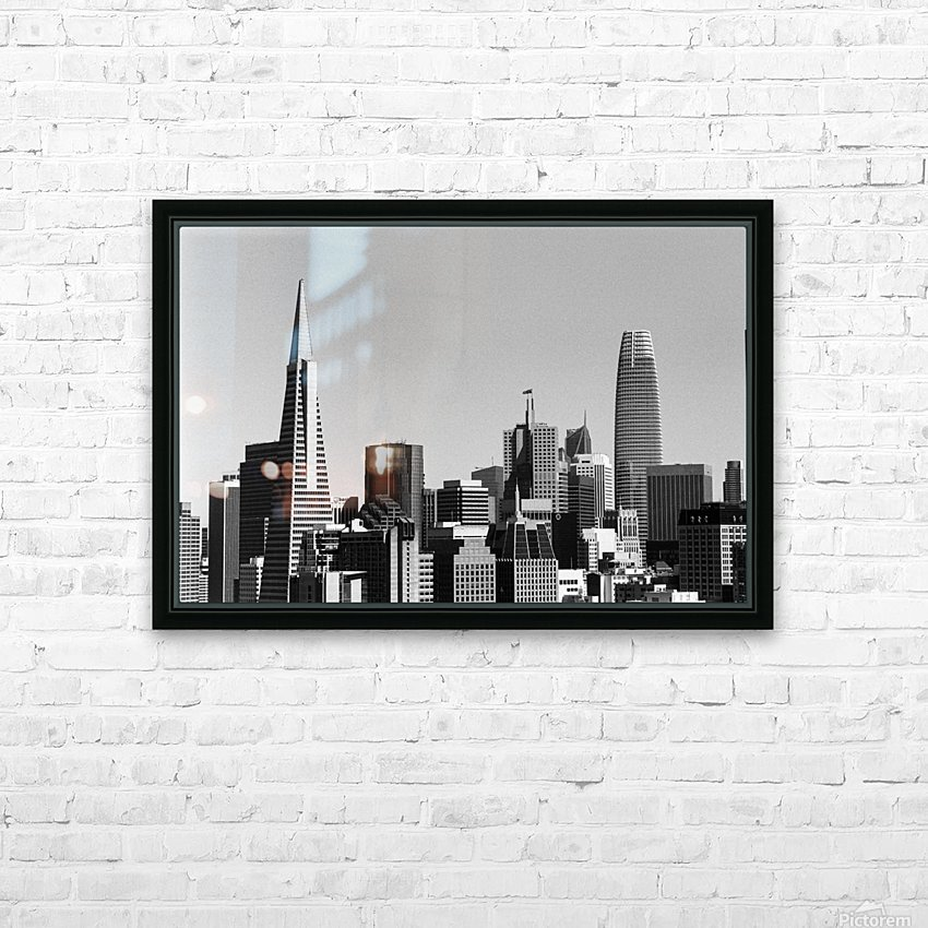 Black and White San Francisco Skyline HD Sublimation Metal print with Decorating Float Frame (BOX)