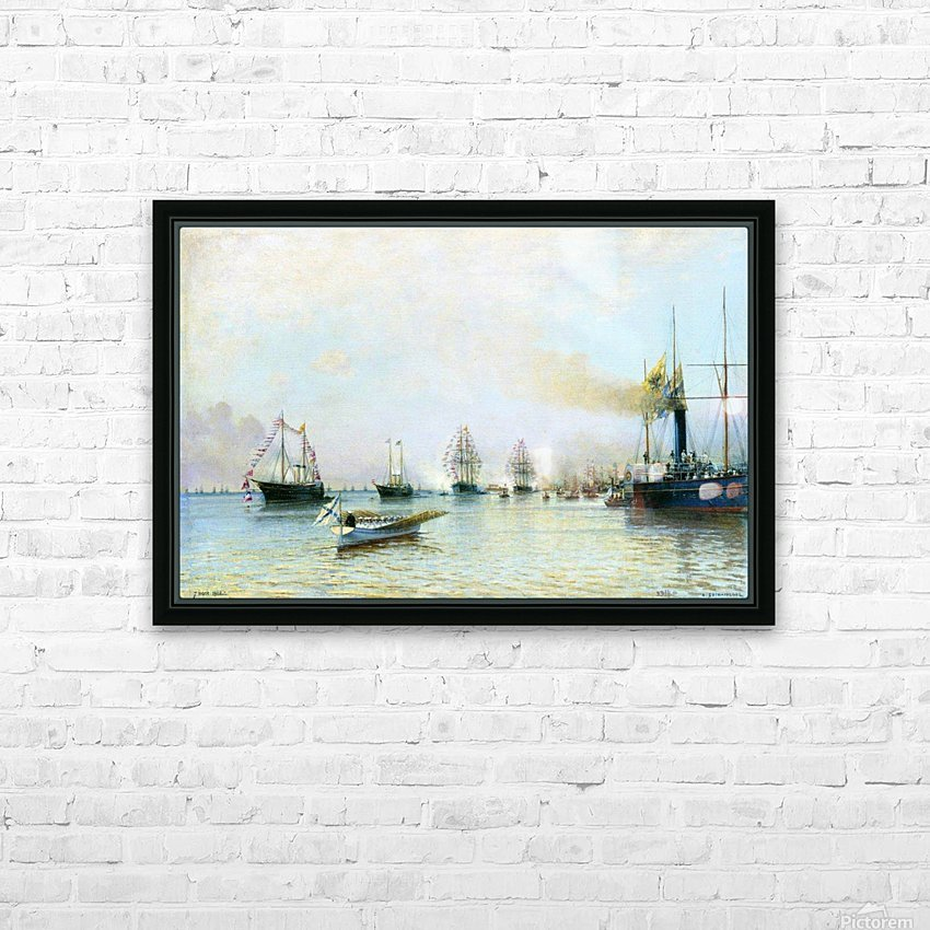 Parade of ships of the Baltic fleet on the occasion of the arrival of the German fleet in 1888 HD Sublimation Metal print with Decorating Float Frame (BOX)