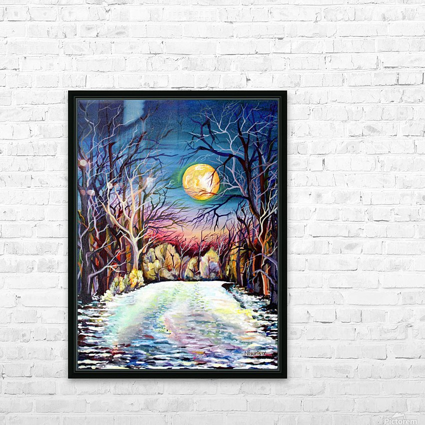Winter Full Moon Night Landscape Watercolor HD Sublimation Metal print with Decorating Float Frame (BOX)