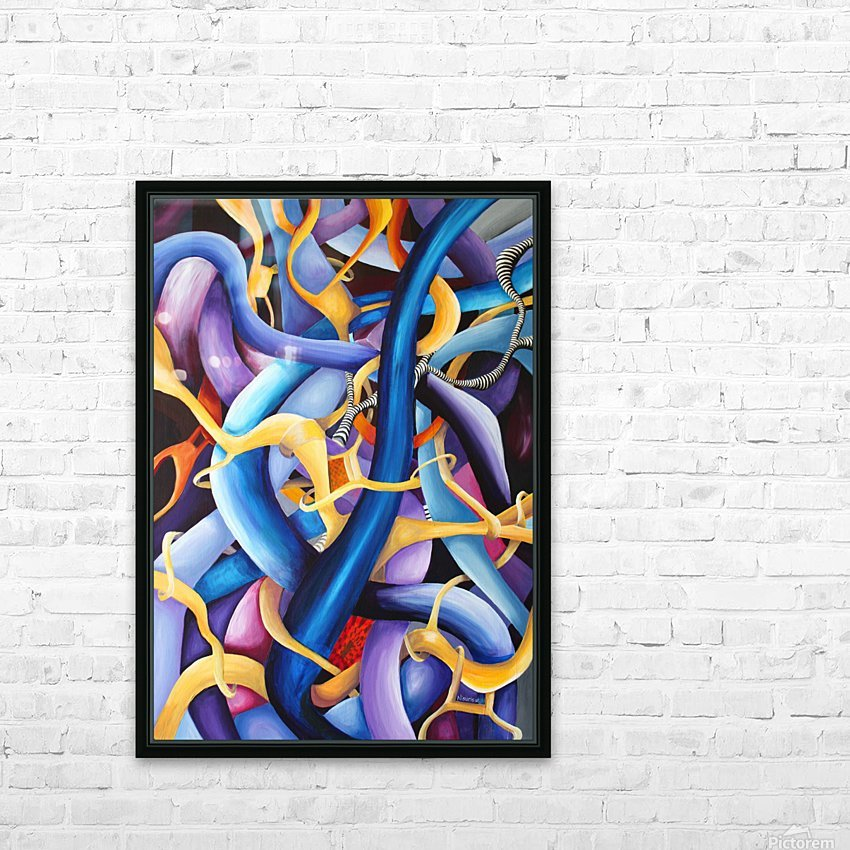 Interlacing Vivid Contemporary Abstract HD Sublimation Metal print with Decorating Float Frame (BOX)