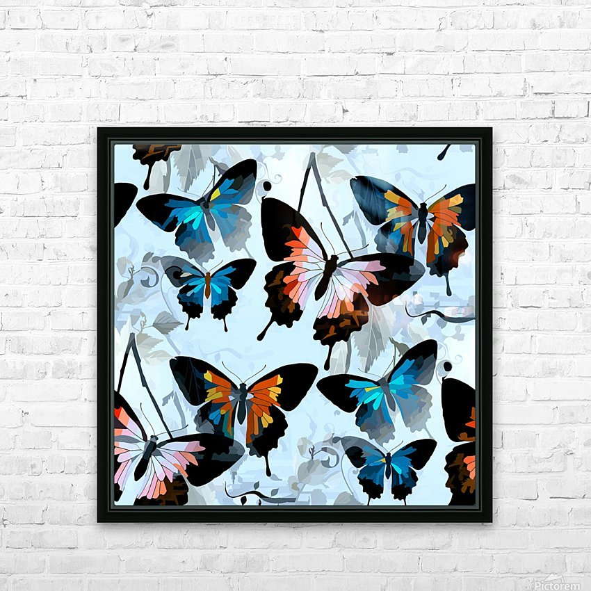 Seamless Butterflies Pattern  HD Sublimation Metal print with Decorating Float Frame (BOX)