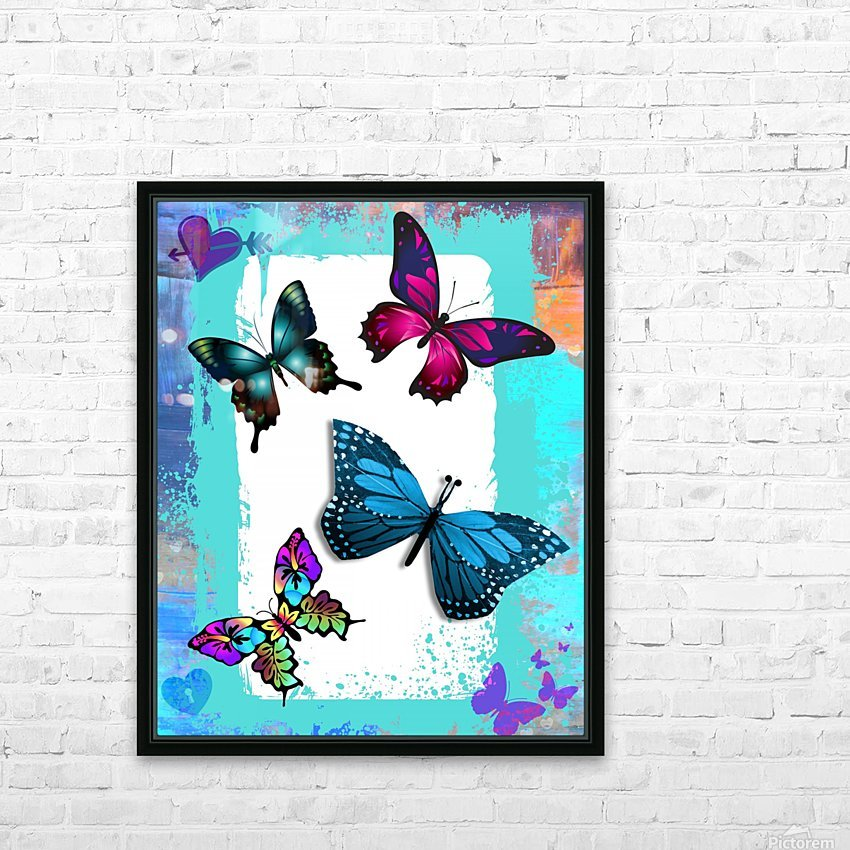 Whimsical Morpho Butterflies in Vivid Colors HD Sublimation Metal print with Decorating Float Frame (BOX)