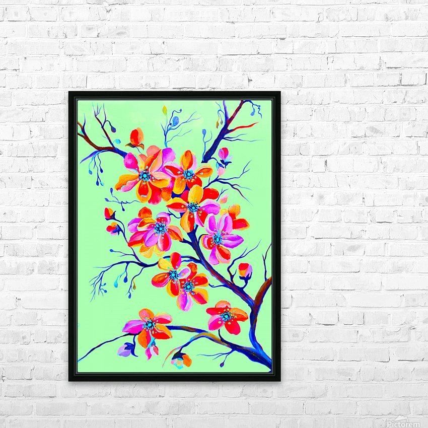 Watercolor Sakura Japanesse Cherry Flowers HD Sublimation Metal print with Decorating Float Frame (BOX)