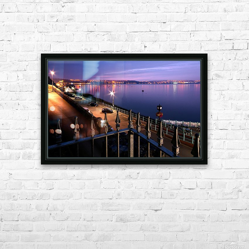 Swansea Bay at night HD Sublimation Metal print with Decorating Float Frame (BOX)