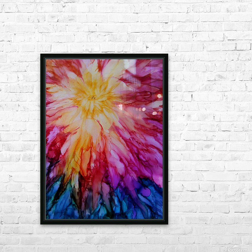 Rainbow Bloom HD Sublimation Metal print with Decorating Float Frame (BOX)