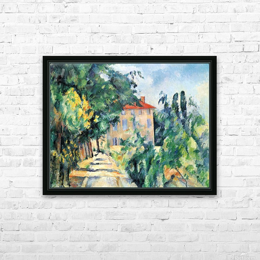 House with Red Roof by Cezanne HD Sublimation Metal print with Decorating Float Frame (BOX)