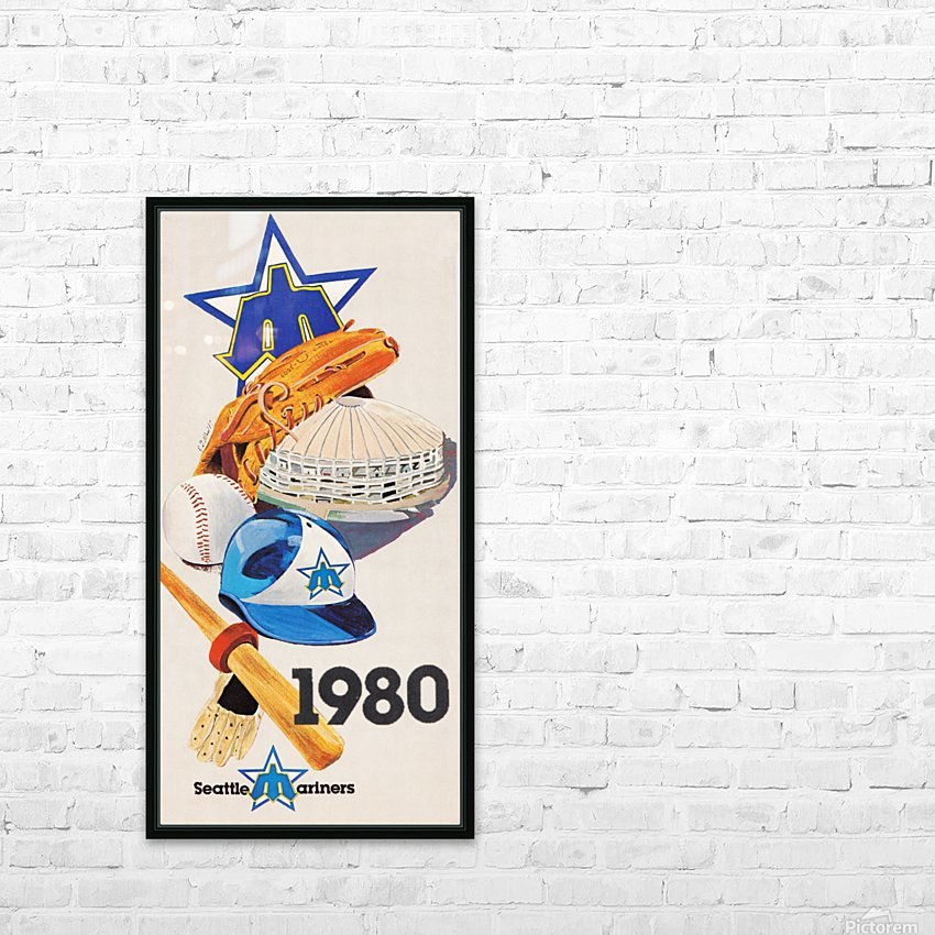 1980 Seattle Mariners Art Remix HD Sublimation Metal print with Decorating Float Frame (BOX)