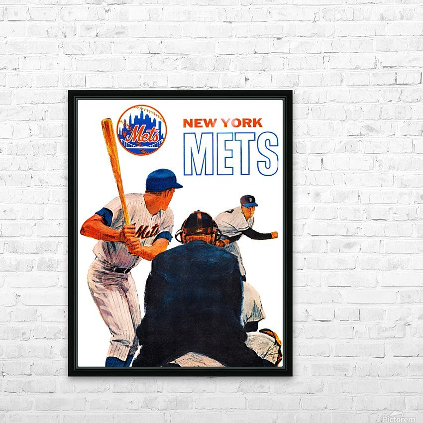 retro new york mets poster HD Sublimation Metal print with Decorating Float Frame (BOX)