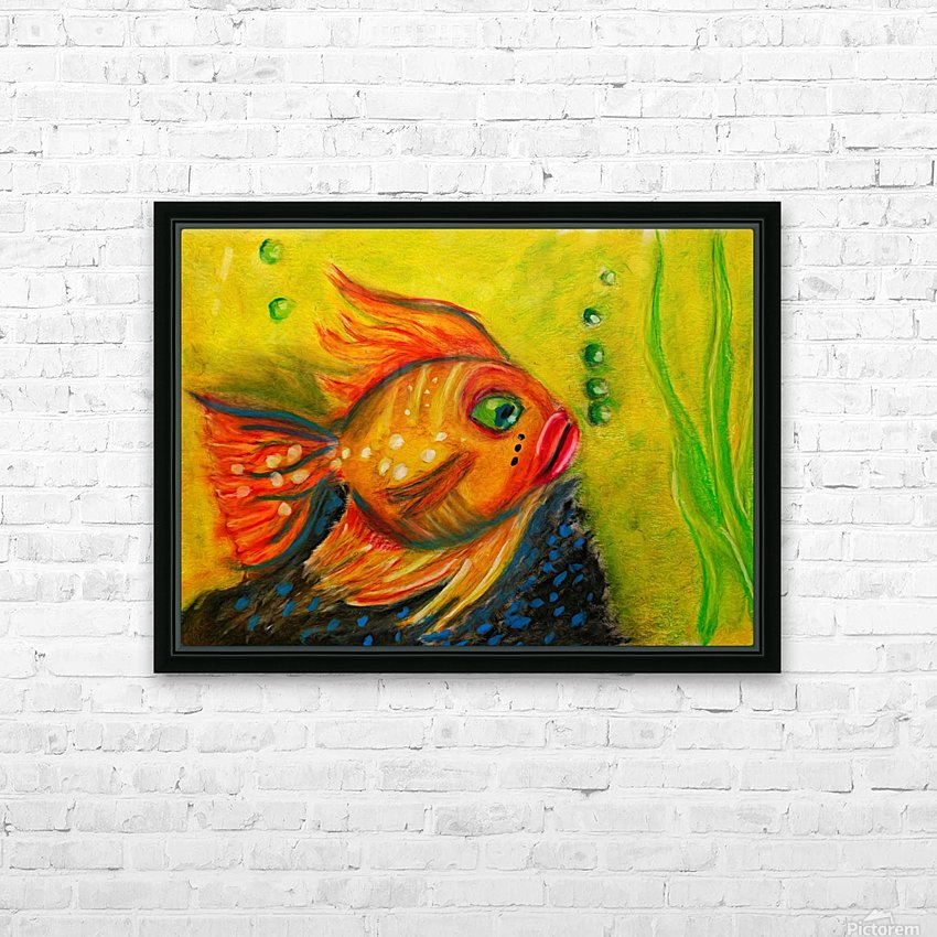 Gold Fish HD Sublimation Metal print with Decorating Float Frame (BOX)