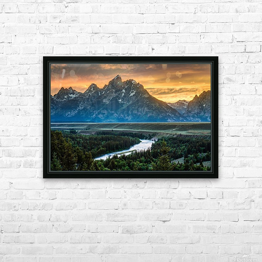 Sunset on Grand Teton and Snake River - Wyoming HD Sublimation Metal print with Decorating Float Frame (BOX)