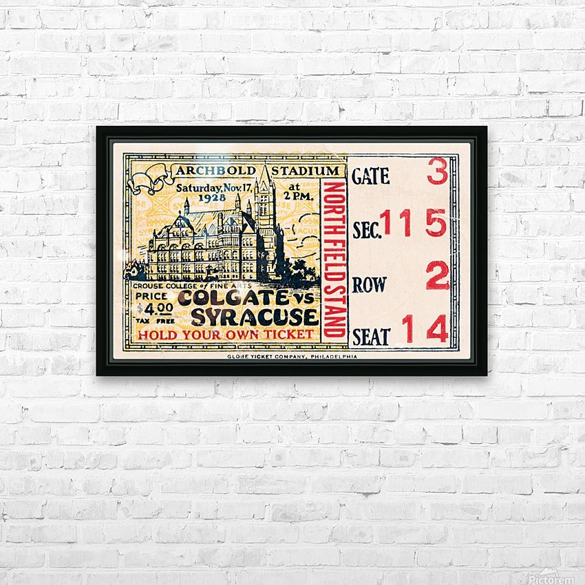 1928 Colgate vs. Syracuse HD Sublimation Metal print with Decorating Float Frame (BOX)