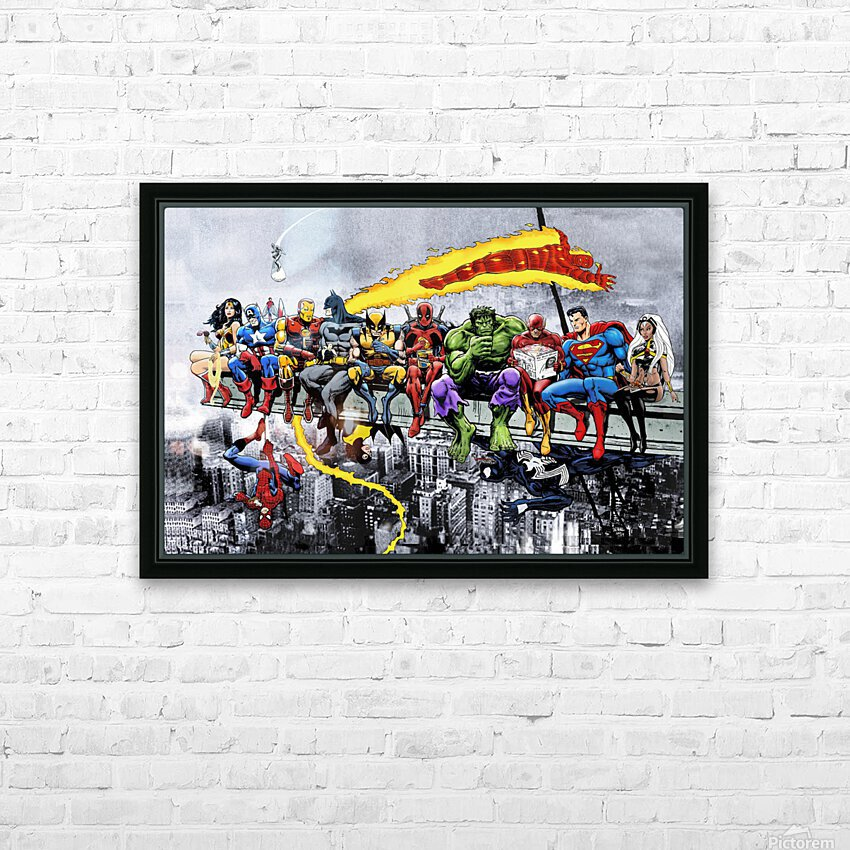 MORE Marvel DC Superheroes Lunch On A Skyscraper New Art Extra Heroes HD Sublimation Metal print with Decorating Float Frame (BOX)