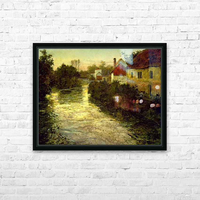 Village on the Bank of a Stream HD Sublimation Metal print with Decorating Float Frame (BOX)