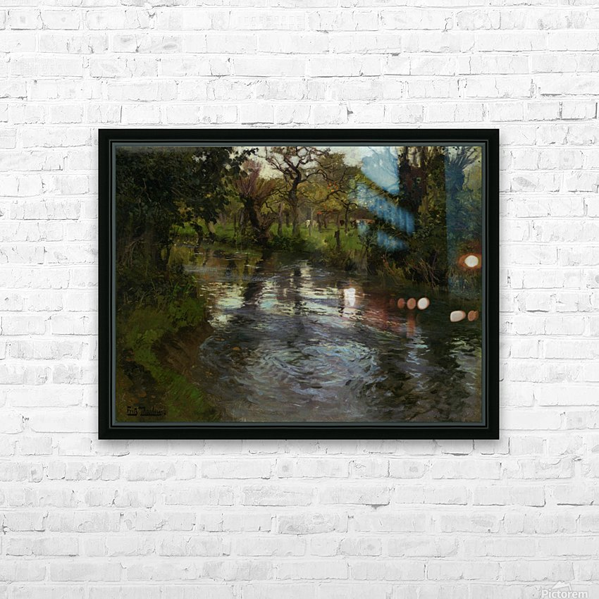 Woodland Scene with a River HD Sublimation Metal print with Decorating Float Frame (BOX)