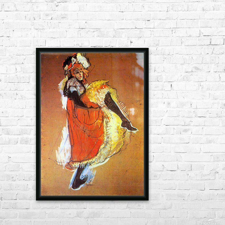 Jane Avril Dancing by Toulouse-Lautrec HD Sublimation Metal print with Decorating Float Frame (BOX)